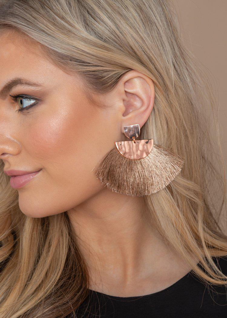 Rose Wailua Drop Fan Earrings-Hand In Pocket