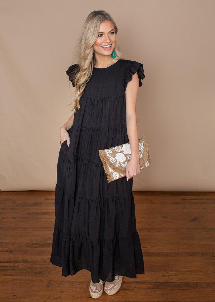 Tiered Black Ruffle Cap Sleeve Maxi Dress-Hand In Pocket