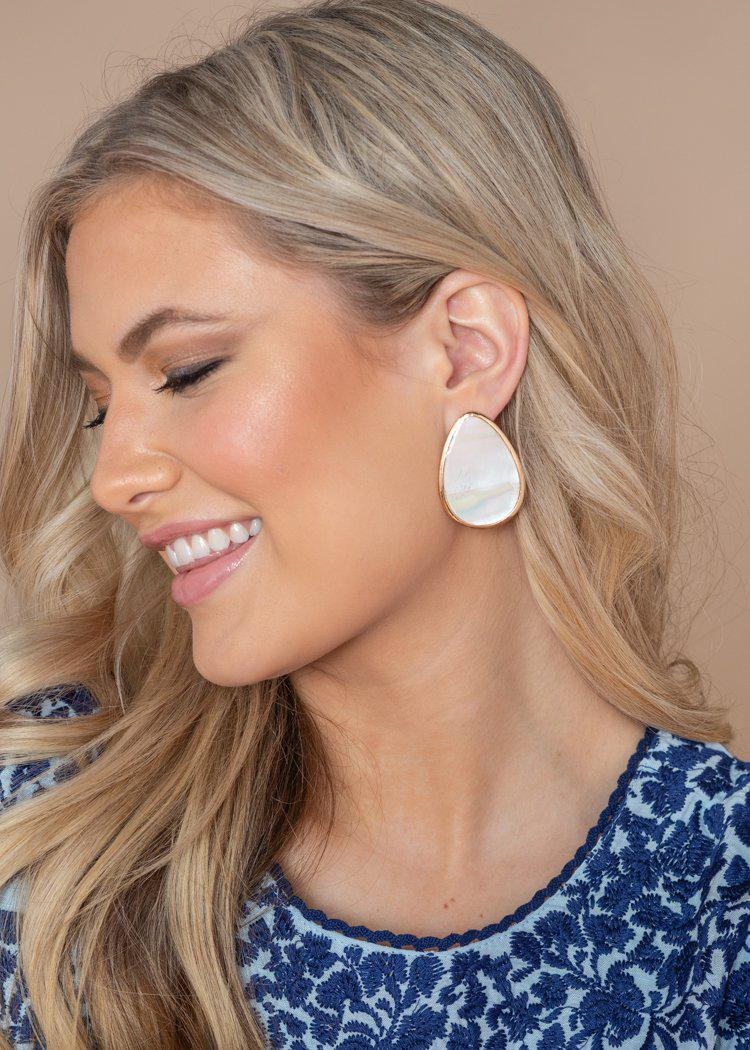 Hua Hin White and Gold Earrings-Hand In Pocket