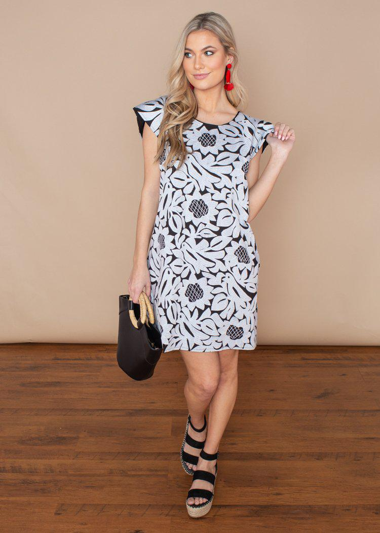 J. Marie Mia Large Floral Black and White Embroidery Dress-Hand In Pocket