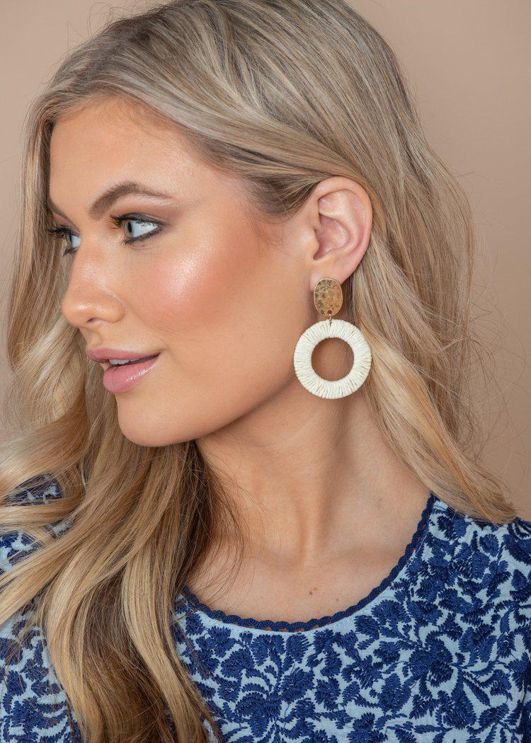 Koloa White and Gold Straw Hoops-Hand In Pocket