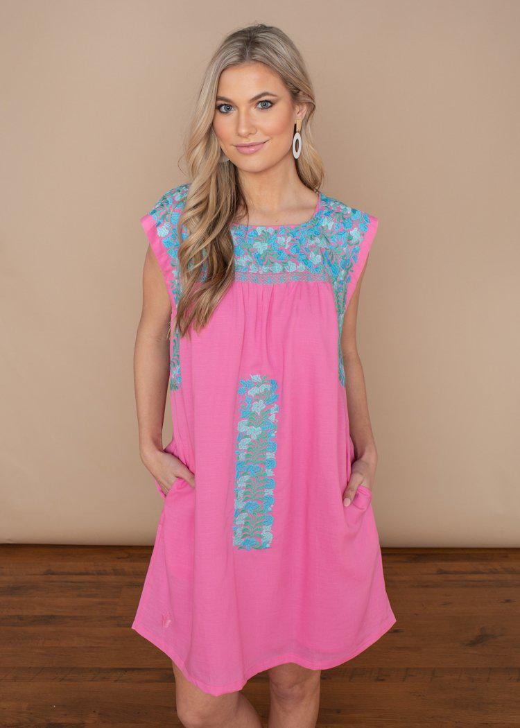 J. Marie Mandy Pink Floral Embroidered Dress-Hand In Pocket