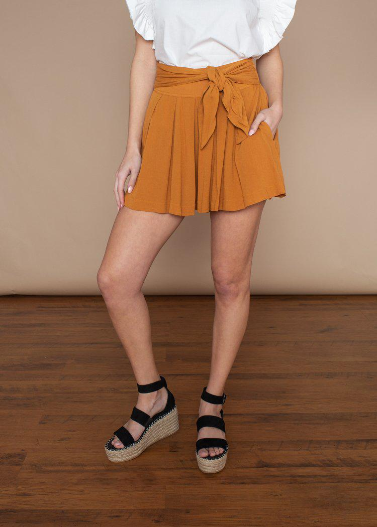 Mustard Seed Flowy Tie Waist Shorts ***FINAL SALE***-Hand In Pocket