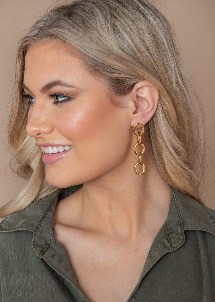 Gold Chain Drop Earrings-Hand In Pocket