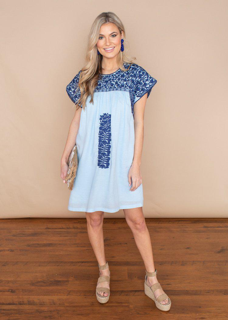 J. Marie Blakely Cap Sleeve Short Blue Embroidered Dress-Hand In Pocket