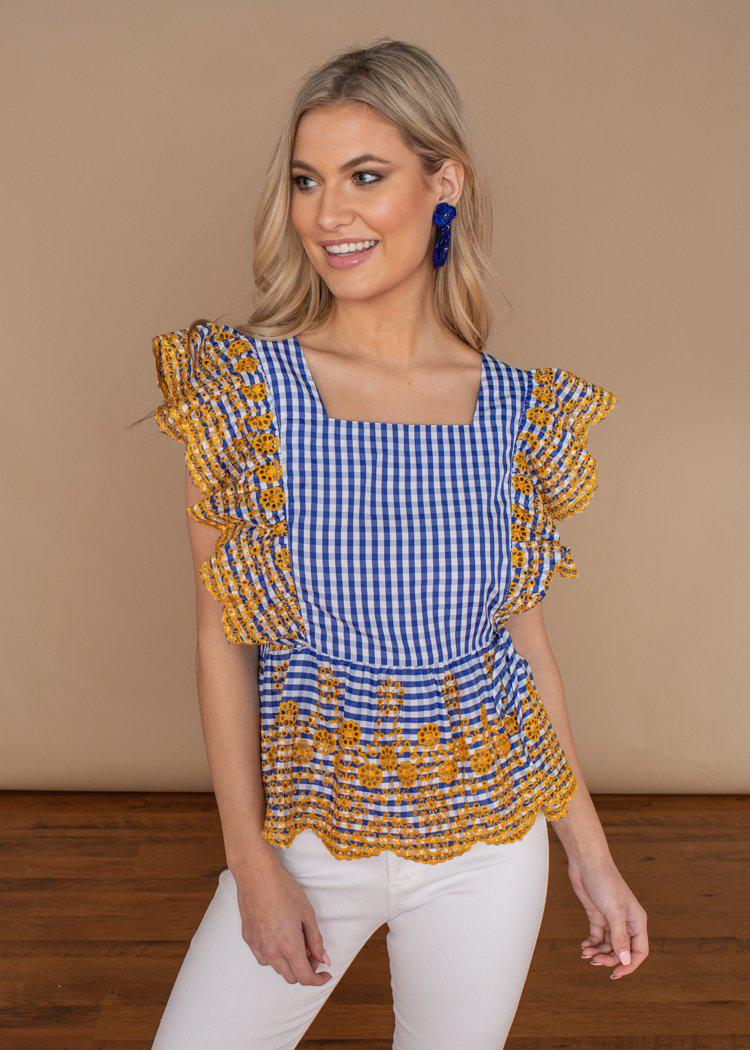 THML Embroidered Flutter Blue Gingham Top-***FINAL SALE***-Hand In Pocket