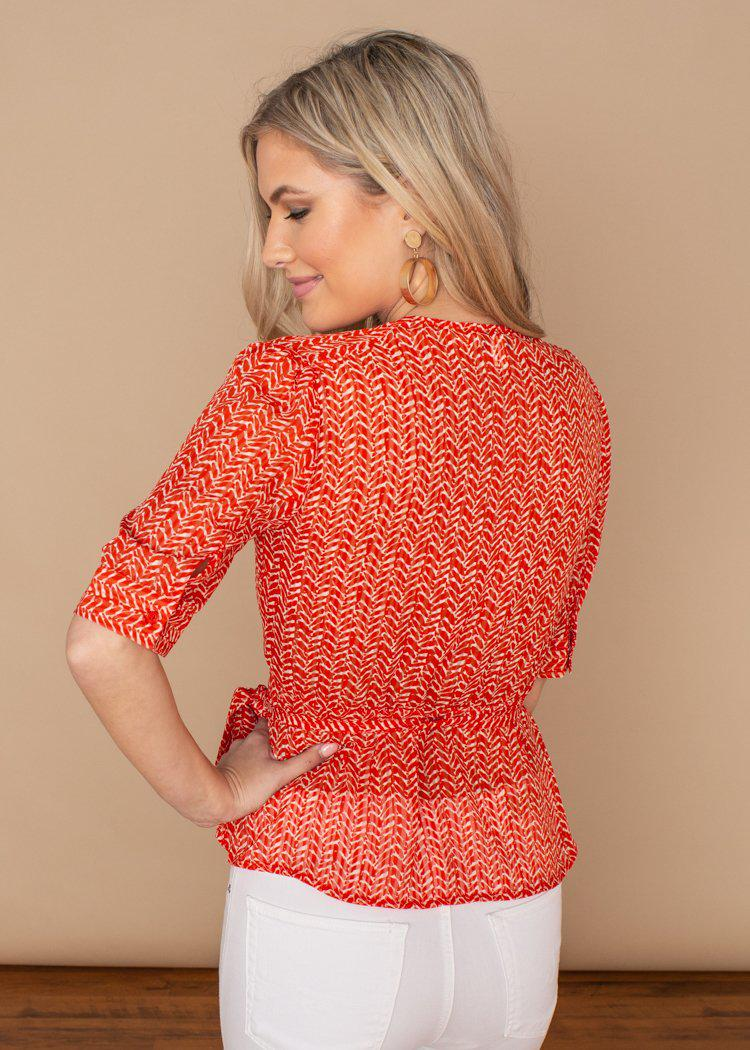 See U Soon Grove Printed Wrap Top ***FINAL SALE***-Hand In Pocket