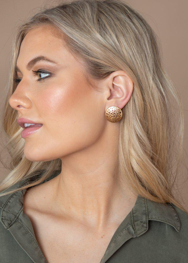 Gold Aperature Post Earrings-Hand In Pocket