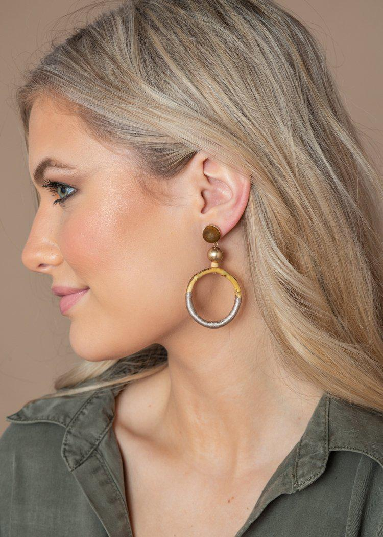 Hanalei Wood and Threaded Drop Earrings-Hand In Pocket