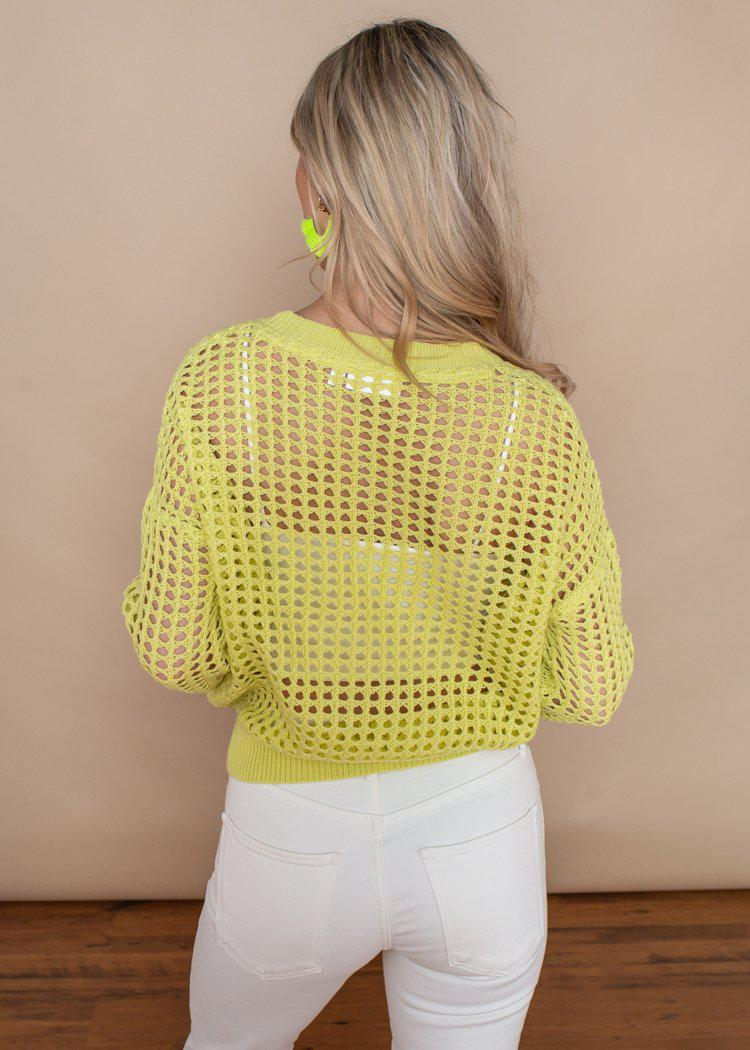 RD Style Crochet Sunny Lime Pull-Over Sweater-Hand In Pocket