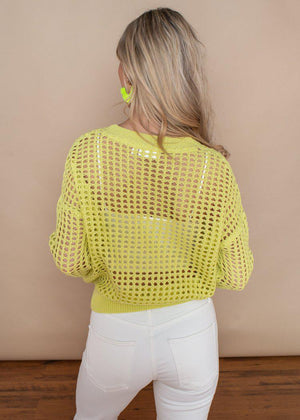 RD Style Crochet Sunny Lime Pull-Over Sweater-***FINAL SALE***-Hand In Pocket