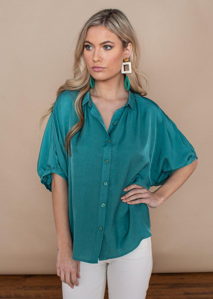 See U Soon Turquoise Button Down Puff Sleeve Blouse-Hand In Pocket