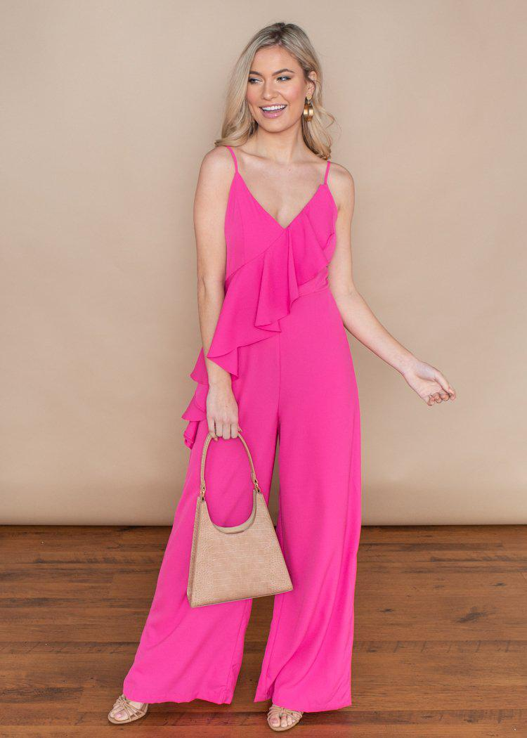 Do + Be Hot Pink Ruffle Front Tank Jumpsuit-***FINAL SALE***-Hand In Pocket