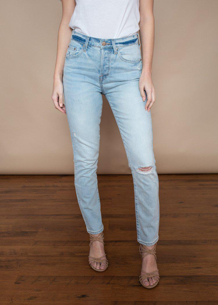 Pistola Nico High Rise Distressed Jeans- Seeker-Hand In Pocket