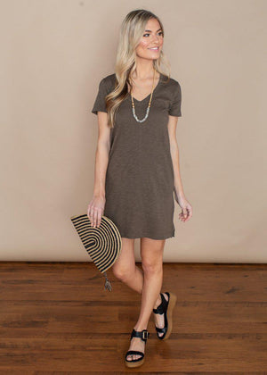 Bobi Short Sleeve V-neck T-shirt Dress-Brigade-Hand In Pocket