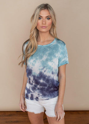 Chaser Blue Tie Dye Silky Basics Easy Tee-Hand In Pocket