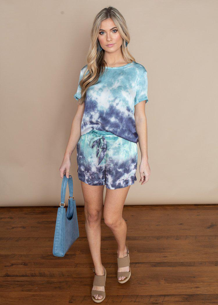 Chaser Blue Tie Dye Silky Tie Front Shorts-Hand In Pocket