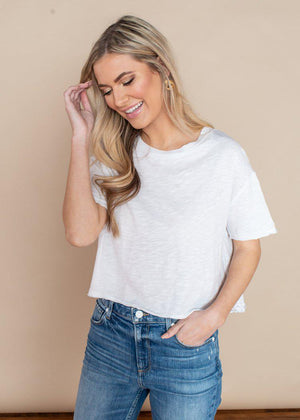 Bobi White Short Sleeve Cropped Tee-Hand In Pocket