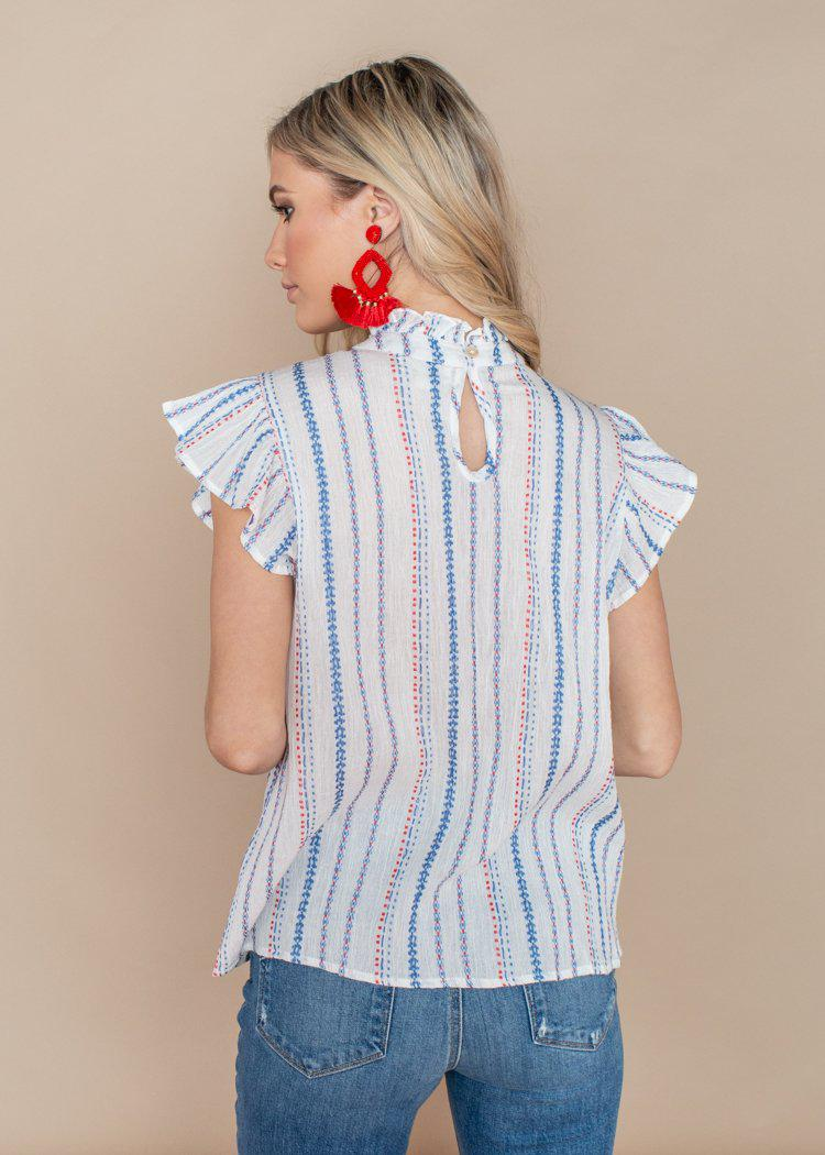THML Striped Flutter Sleeve Embroidered Top-White-Hand In Pocket
