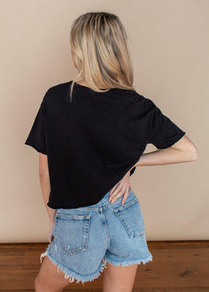 Bobi Black Short Sleeve Cropped Tee-Hand In Pocket