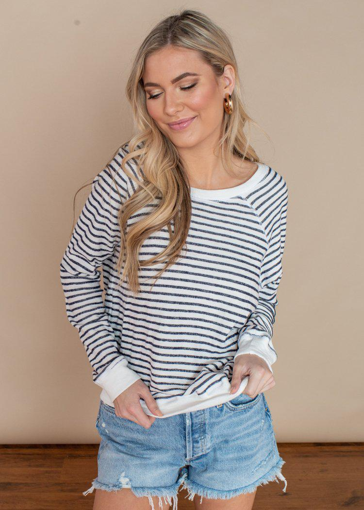 LA Made Valley Black and White Striped Beach Pullover-Hand In Pocket