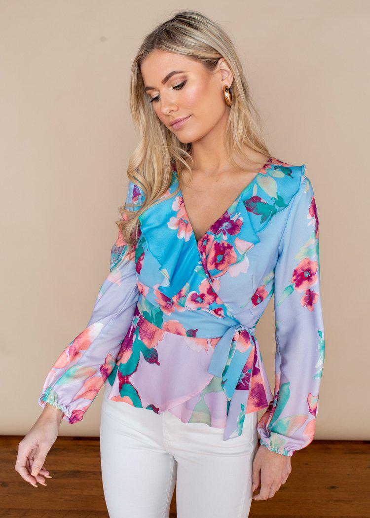 Adelyn Rae Maisy Floral Pastel Wrap Blouse-***FINAL SALE***-Hand In Pocket