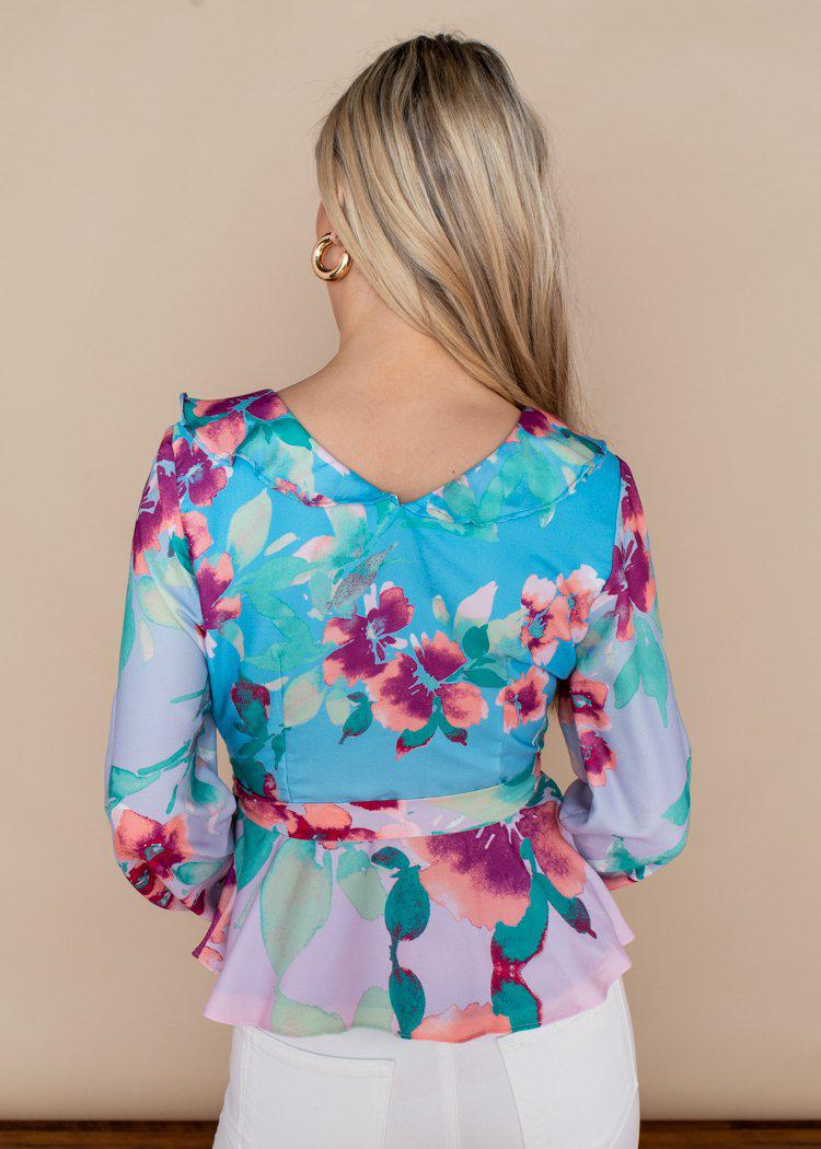 Adelyn Rae Maisy Floral Pastel Wrap Blouse-Hand In Pocket