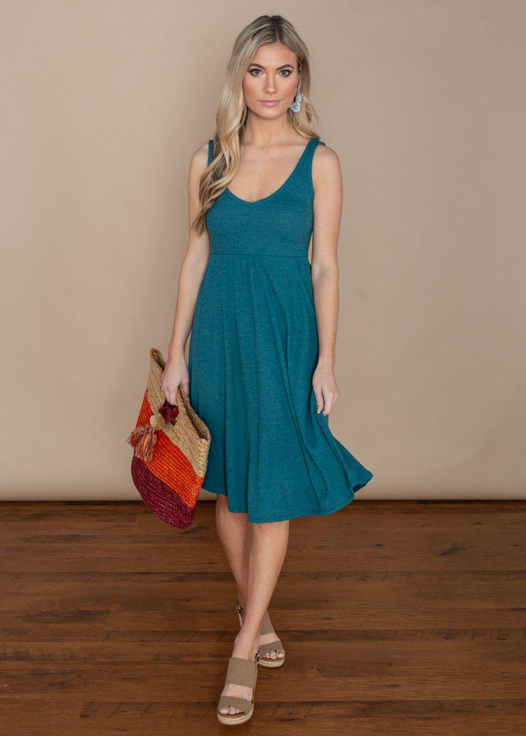 Chaser Ribbed Double V Tank Midi Dress in Moroccan Blue-Hand In Pocket
