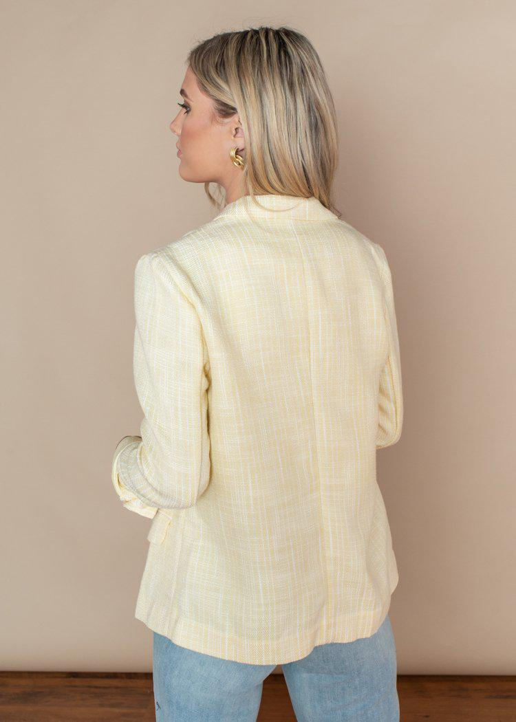 Lucy Paris Aaron Tweed Blazer-Lemon-***FINAL SALE***-Hand In Pocket