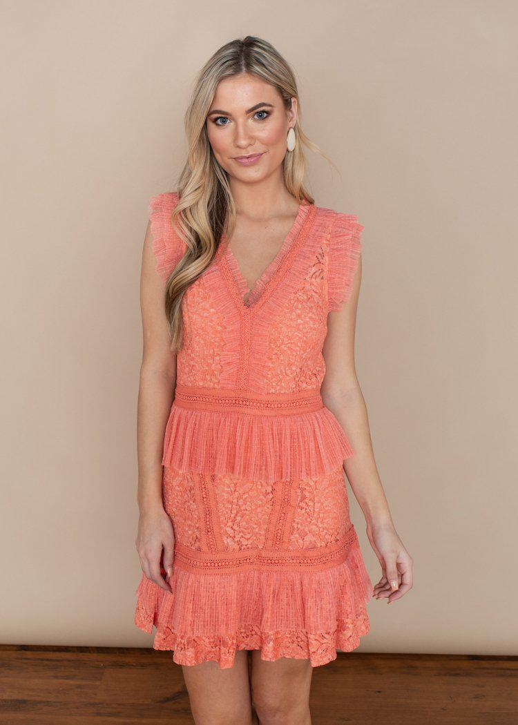 Adelyn Rae Peach Aviana Ruffle Dress-***FINAL SALE***-Hand In Pocket