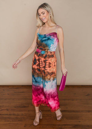 Adelyn Rae Leyla Multi Color Cinched Waist Culotte Jumpsuit-***FINAL SALE***-Hand In Pocket