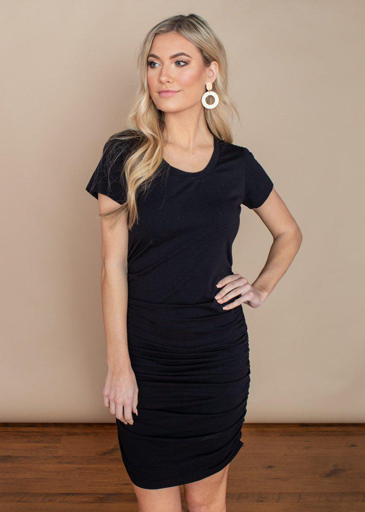Bobi Short Sleeve Ruched Mini Dress-Black-Hand In Pocket