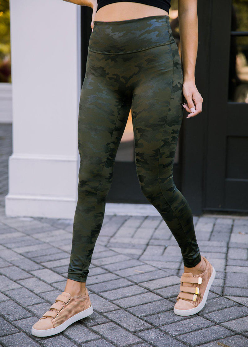 Spanx Camo Faux Leather Leggings -Green-Hand In Pocket