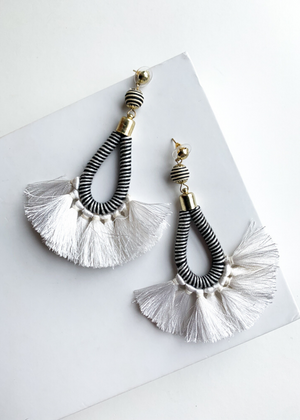 Zahara Black and White Striped Fringe Drop Earrings-Hand In Pocket