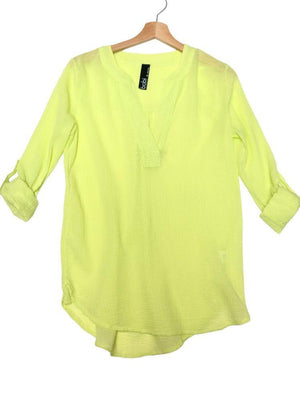 Bobi Gauzy Split Neck Roll Up Sleeve Top- Zest-Hand In Pocket