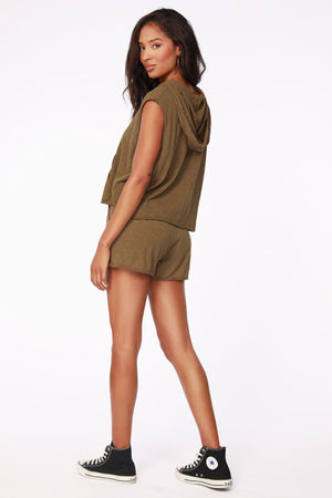 Bobi Sleeveless Hoodie Tee - Grenade-Hand In Pocket