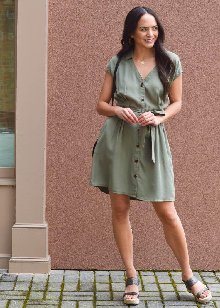 Velvet Heart Mulan Olive Green Tunic Dress-Hand In Pocket