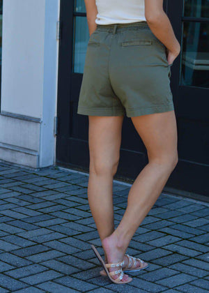 Sanctuary Daily Paperbag Tie Waist Short - Olive-Hand In Pocket