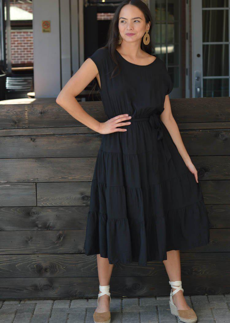Valdivian Tiered Tie Waist Midi Dress - Black-Hand In Pocket