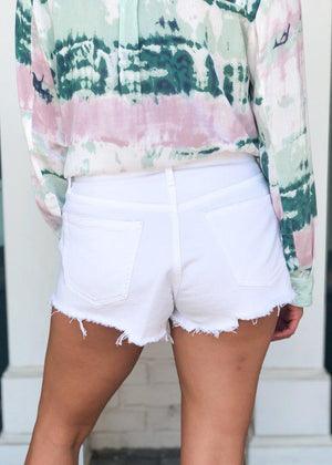 Agolde Parker Distressed Denim Shorts-Gleam-Hand In Pocket