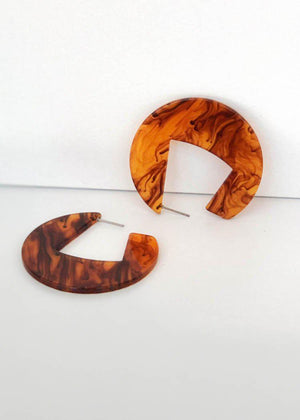 Merida Modern Marble Acrylic Hoops - Brown-Hand In Pocket