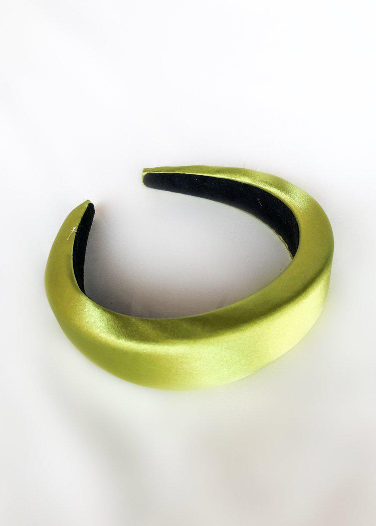 Color Pop Satin Headband - Lime-Hand In Pocket