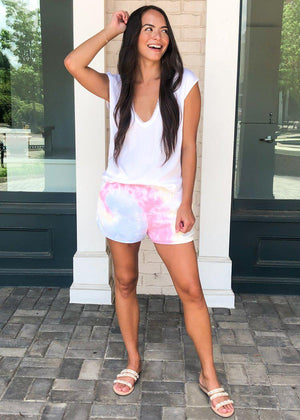 Karlie Cantaloupe Track Shorts- Tie Dye ***FINAL SALE***-Hand In Pocket