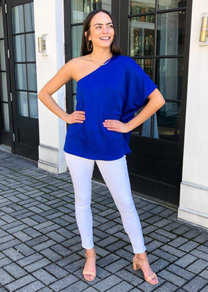 Teagan One Shoulder Blouse - Royal Blue-Hand In Pocket