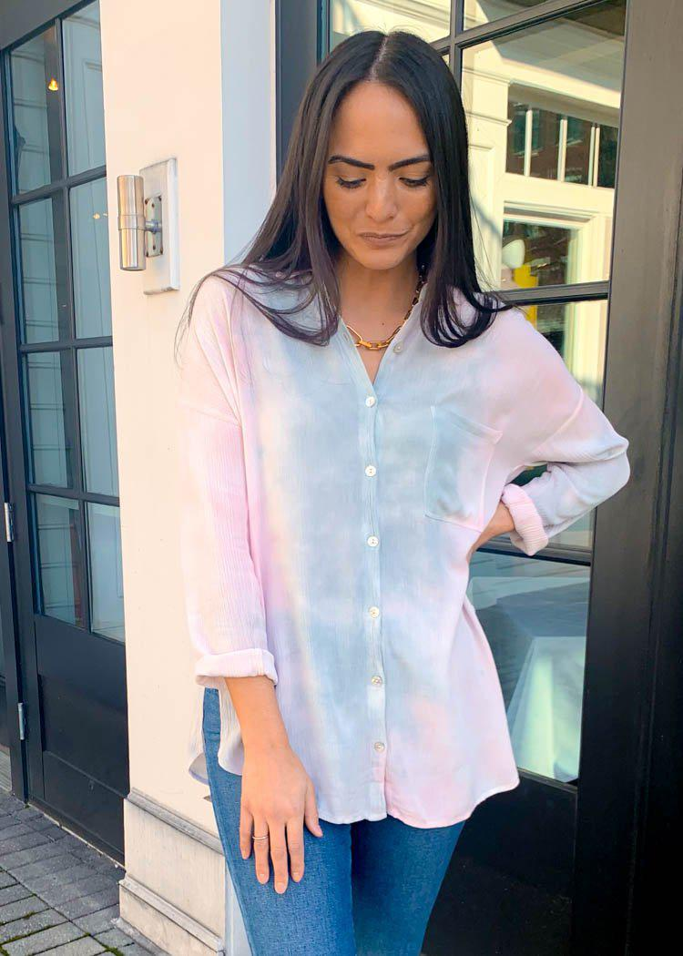 BB Dakota Tie Dye for Tunic Button Up Blouse-Hand In Pocket
