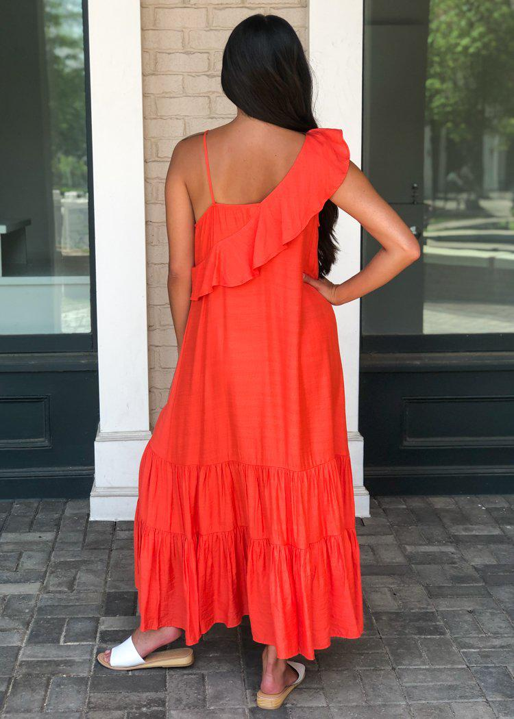 THML Celia One Shoulder Ruffle Maxi Dress-Coral-Hand In Pocket