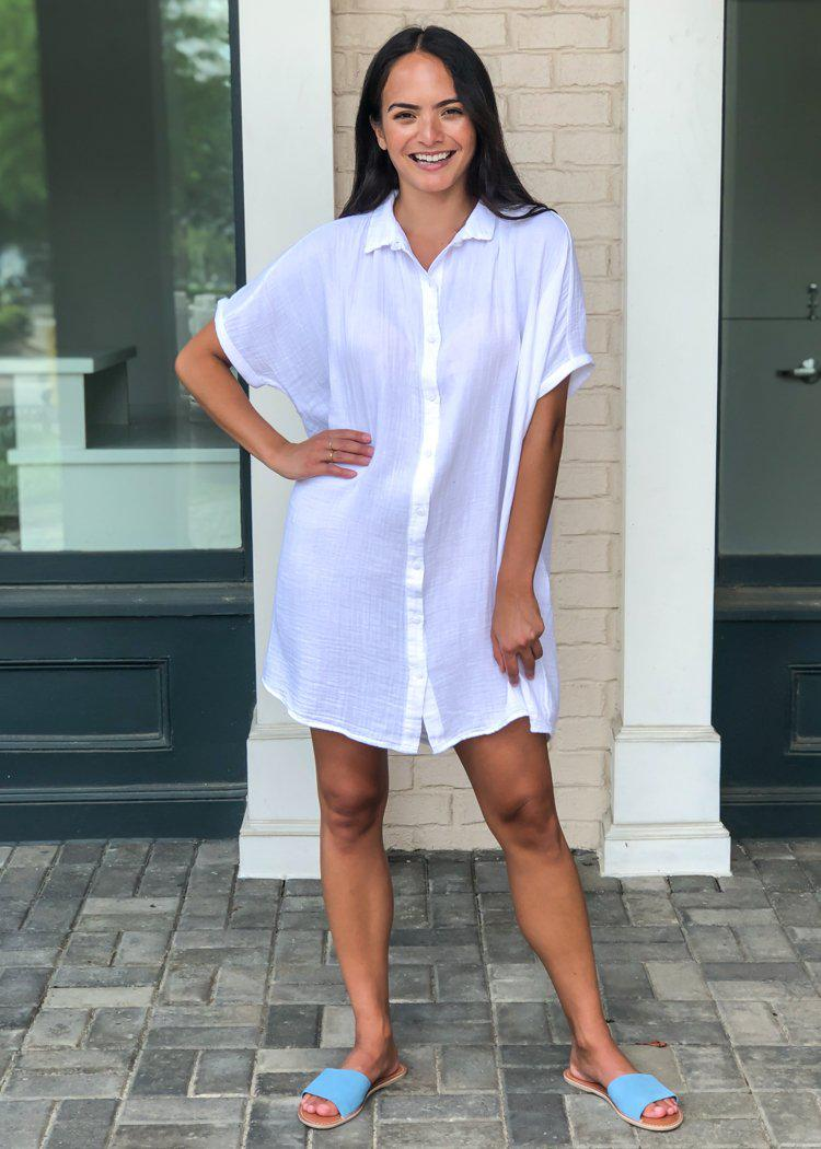 Stark X Button Front Shirtdress-White-Hand In Pocket