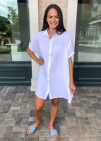 Crinkled Flowy Button Front Pocketed Cotton Shirt Dress