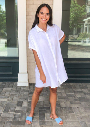 Stark X Button Front Shirtdress-White-***FINAL SALE***-Hand In Pocket