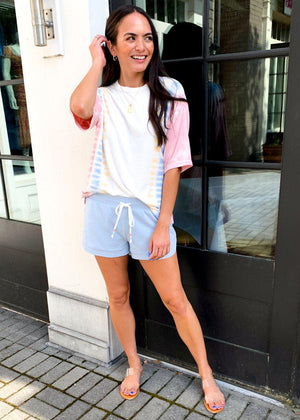 PJ Salvage Seize The Day Waffle Drawstring Short - Sky Blue-Hand In Pocket